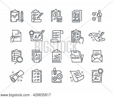 Set Of Clipboard Related Minimalistic Linear Icons On White Background. Collection Of Simple Line Co