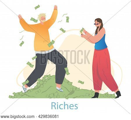 Happy Male And Female Characters Are Throwing Money Banknotes Up On White Background. Smiling Couple