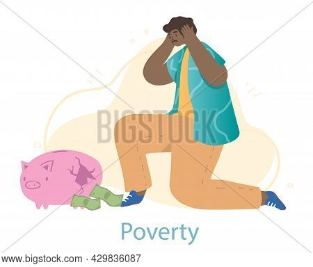 Poor Male Character Sitting Near Broken Piggy Bank With A Few Banknotes Left On White Background. Yo