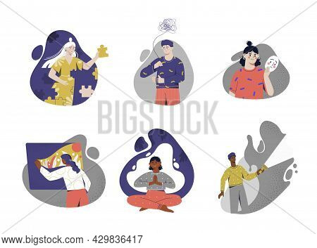 Set Of Male And Female Characters Are Recovering From Psychological Issues And Disorders. Concept Of