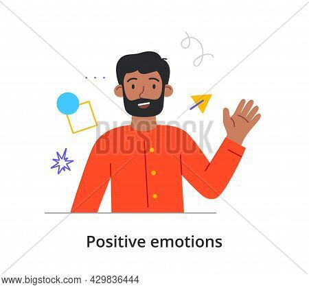 Cheerful Male Character Is Waving With His Hand On White Background. Concept Of People Expressing Th