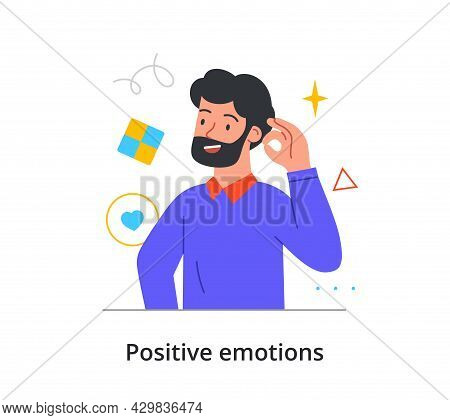 Smiling Male Character Is Showing Okay Gesture With His Hand On White Background. Concept Of People