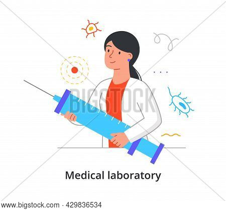 Cheerful Female Scientist Is Holding Big Syringe For Medical Analysis In Laboratory On White Backgro