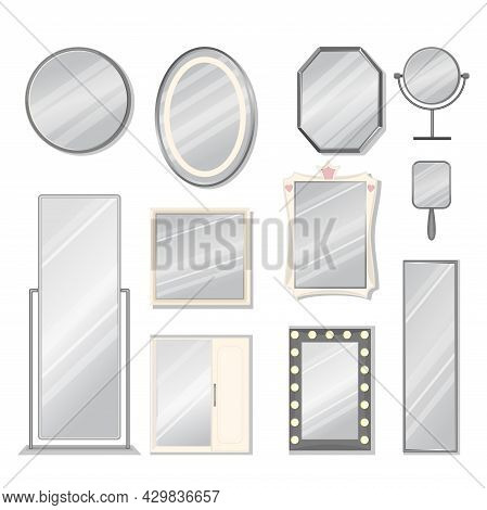 Set Of Vector Mirrors Of Different Models. Reflective Mirror Surface In Silver Frame, Baby, Tabletop