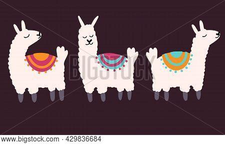 Set Of Vector Cute Lama In Cartoon Hand Drawn Childish Style. Funny Animal Character For Nursery, Ba