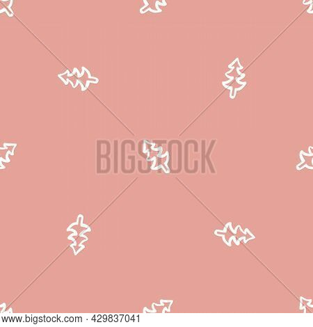 Seamless Background Winter Tree Gender Neutral Pattern. Whimsical Minimal Earthy 2 Tone Color. Kids