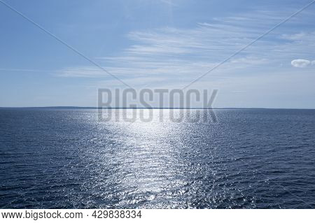 Aerial View Sky Background. Aerial Blue Sky With Clouds Over The Sea. Sky Landscape Over Ocean. Aeri