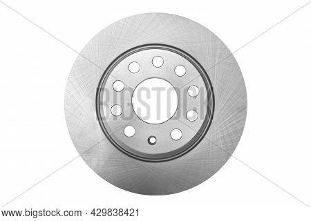 Car Brake Disc Isolated On White Background. Auto Parts. Brake Disc Rotor Isolated On White. Braking