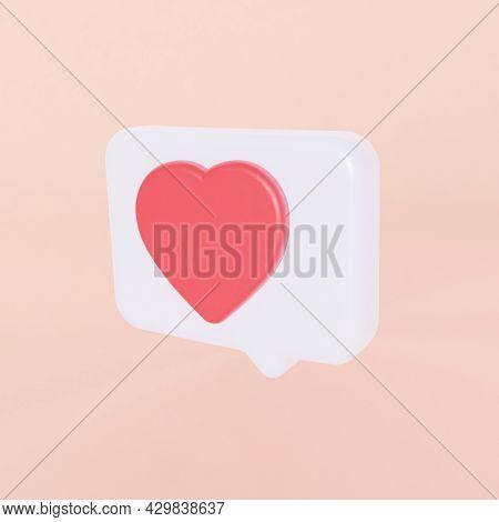 Symbol Love Like Heart. Dialog In Social Media. 3d Rendering