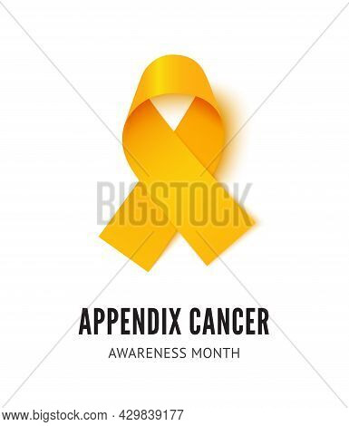 Appendix Cancer Awareness Ribbon Vector Illustration Isolated On White Background