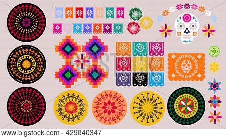 Mexican Halloween  Set Elements  - Sugar Skulls,  Papel Picado, Garland Decoration  And   Marigold F