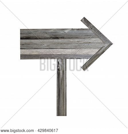 Old Wooden Signpost On White Background. Arrow Road Sign, Empty, Decrepit Wood Texture, Ancient Boar