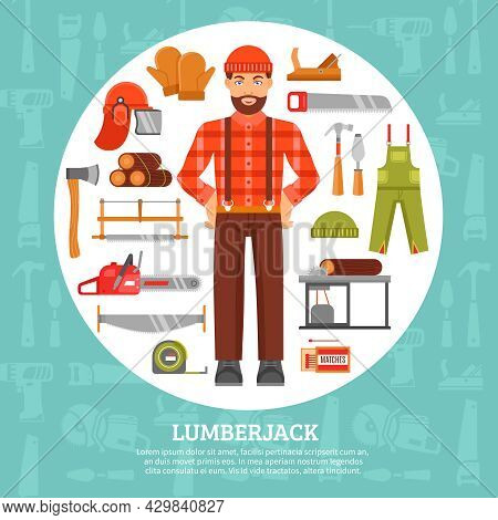 Lumberjack And Tools Icons Set With Saws Axes Overall In White Circle With Blue Background Vector Il