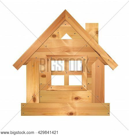 Wooden House To Four-section Window Opening Isolated On A White Background. Home Made Of Boards, Nai
