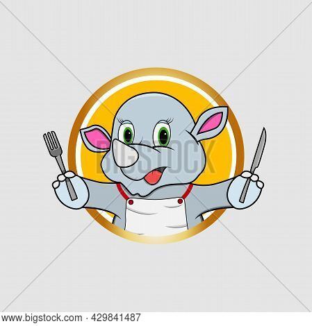Rhinoceros Head Circle Label Bring Fork And Knife , Yellow Colors Background, Mascot, Icon, Characte
