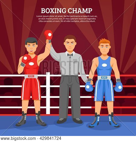 Boxing Champ Flat Design Composition With Two Boxers On Ringside And Referee Lifting Winner Hand Vec