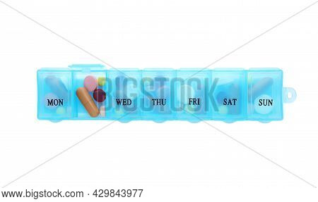 Pill Box With Medicaments Isolated On White, Top View
