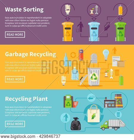 Recycling Flat Concept. Garbage Horizontal Banners. Recycling Vector Illustration. Garbage Recycling
