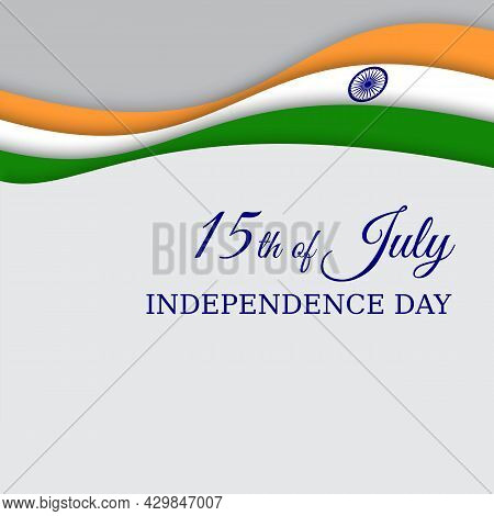 August 15, India Independence Day, Vector Template With Abstract Indian Flag In Paper Cut Style. Ind