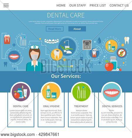 Dental Care Page. Dental Care Design. Dental Care Vector Illustration. Dental Care Symbols. Dental C