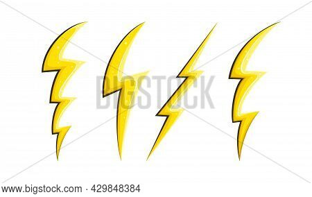 Electric Lightnings And Flashes In Comic Style, Symbol Of Speed. Cartoon Lightnings Set. Vector Illu