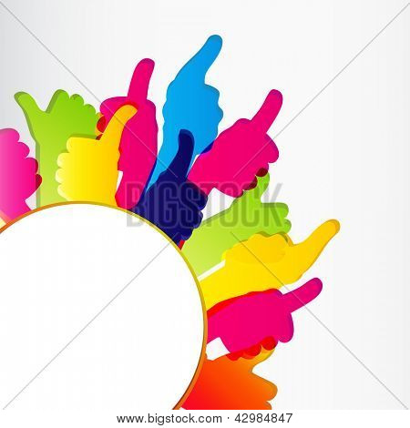 Thumbs Up symbol. Abstract background.