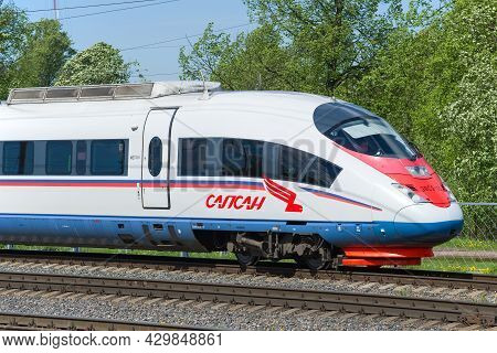 Leningrad Region, Russia - May 24, 2021: The Head Car Of The High-speed Electric Train Evs-2