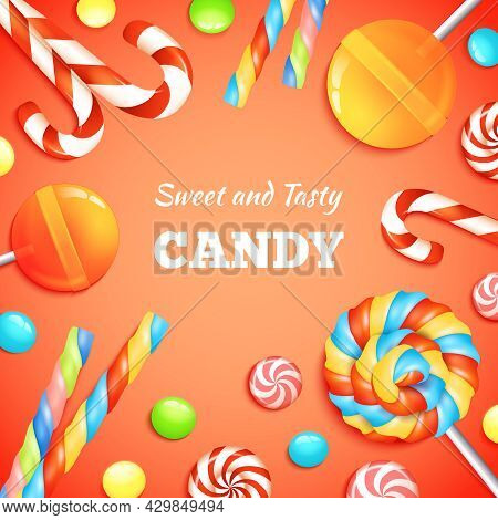 Sweets Background With Realistic Candies Lollipops And Bonbons Vector Illustration