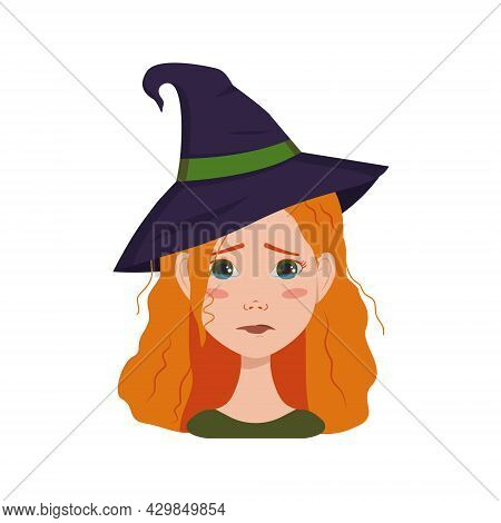 Avatar Of A Woman With Red Curly Hair, Sad Emotions, Crying Face And Tears, Wearing A Witch Hat. Gir