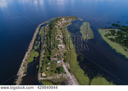 Above The Ruins Of An Ancient Artillery Fort (first Northern Fort) On A Sunny Summer Day. Kronshtadt