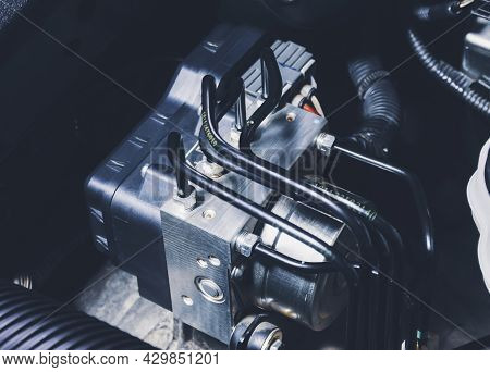 Abs (anti Lock Brake System) Unit Module Control Box And Brake Fluid Pipes Of Car Brake System