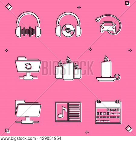 Set Headphone And Sound Waves, Headphones Cd Or Dvd, Electric Car, Ftp Sync Refresh, Burning Candles