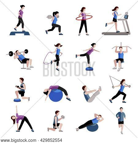 Fitness Cardio Exercise And Equipment For Men Women Two Tints Flat Icons Collections Abstract Isolat