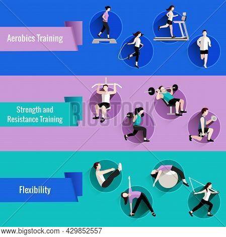 Fitness Aerobics Strength And Resistance Training For Men And Women Flat Banners Set Abstract Isolat