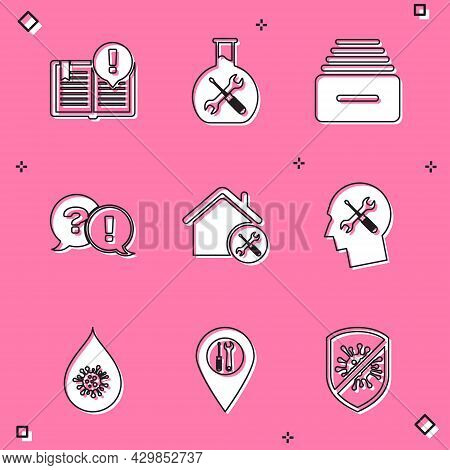 Set Interesting Facts, Bioengineering Service, Drawer With Documents, Question And Exclamation, Hous