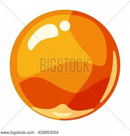 Ball Orange Shiny Glossy Colorful Game Art. Magic Crystal Glass Sphere, Bubble Shot Elements. Cartoo
