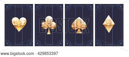 Set Of Poker Cards In Metallic Black And Gold Texture Shining Colors. Concept Of Poker Cards Templat