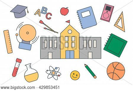 Set Of Essential School Items On White Background. Concept Of School Supplies, Books, And Building O