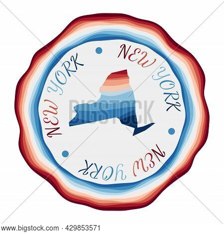 New York Badge. Map Of The Us State With Beautiful Geometric Waves And Vibrant Red Blue Frame. Vivid