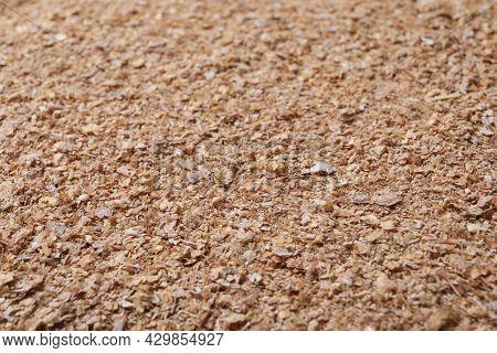 Heap Of Wheat Bran As Background, Closeup