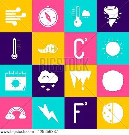 Set Eclipse Of The Sun, Moon, Sun, Meteorology Thermometer, Cone Meteorology Windsock Wind Vane, Win