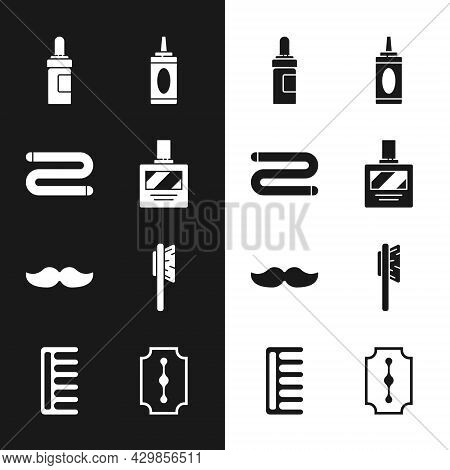 Set Aftershave, Towel, Beard And Mustaches Care Oil Bottle, Bottle Of Shampoo, Mustache, Hairbrush,