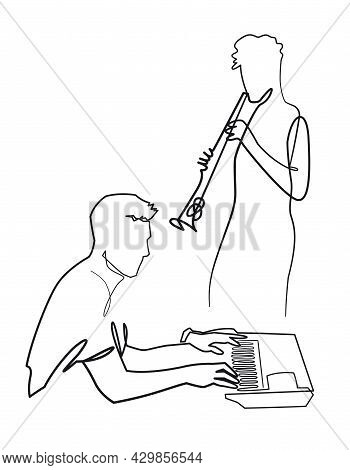 Continuous One Line Drawing Of Musical Duo Plays Saxophone And The Piano Vector Illustration. Musica