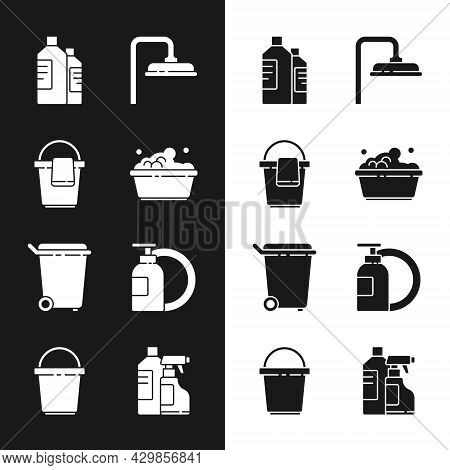 Set Plastic Basin With Soap Suds, Bucket Rag, Bottles For Cleaning Agent, Shower Head, Trash Can, Di