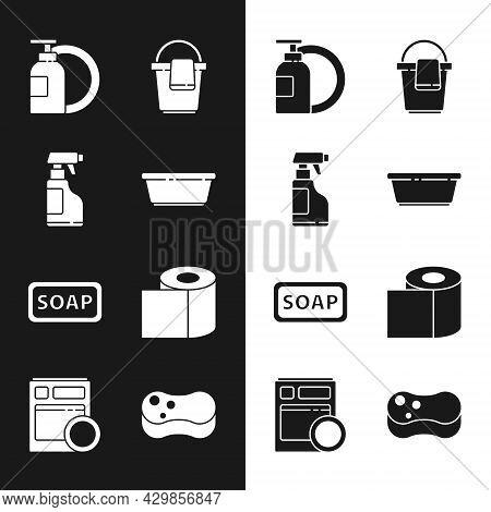 Set Plastic Basin, Spray Bottle With Detergent Liquid, Dishwashing And Plate, Bucket Rag, Bar Of Soa