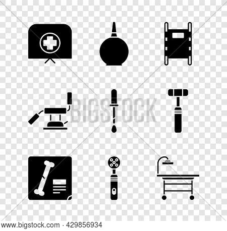 Set Nurse Hat With Cross, Enema, Stretcher, X-ray Shots, Electric Toothbrush, Operating Table, Medic