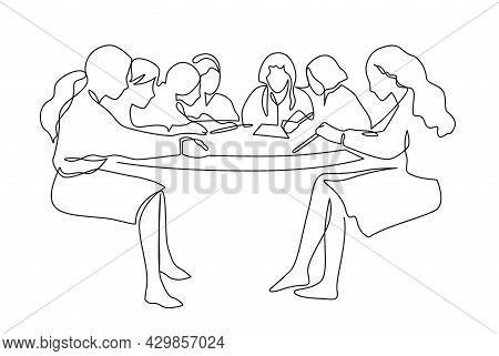 Group Of People Working Continuous One Line Vector Drawing. Students Preparing To Exams, Doing Homew