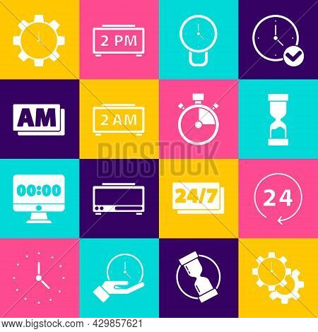Set Time Management, Clock 24 Hours, Old Hourglass, Digital Alarm Clock, Am, And Stopwatch Icon. Vec