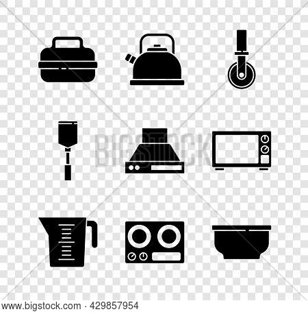 Set Cooking Pot, Kettle With Handle, Pizza Knife, Measuring Cup, Gas Stove, Bowl, Spatula And Kitche
