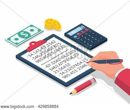 Calculation Concept. Businessman Working With A Folder For Calculations. Vector Isometric Design. Is